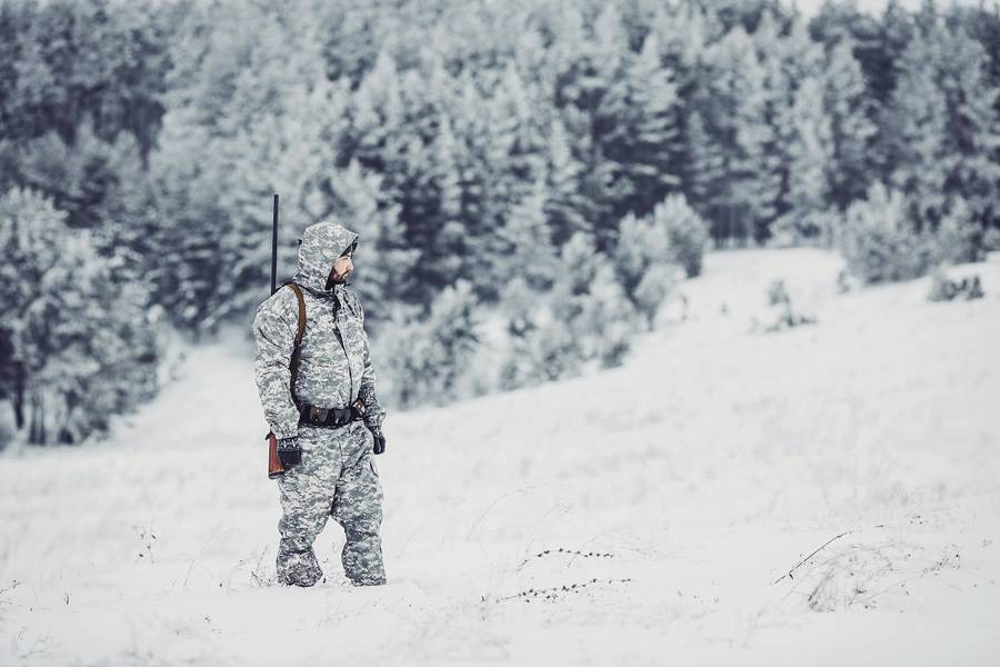 Male hunter in camouflage