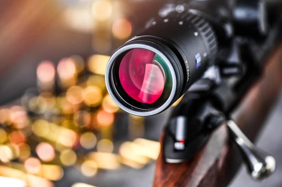 Close up of rifle scope