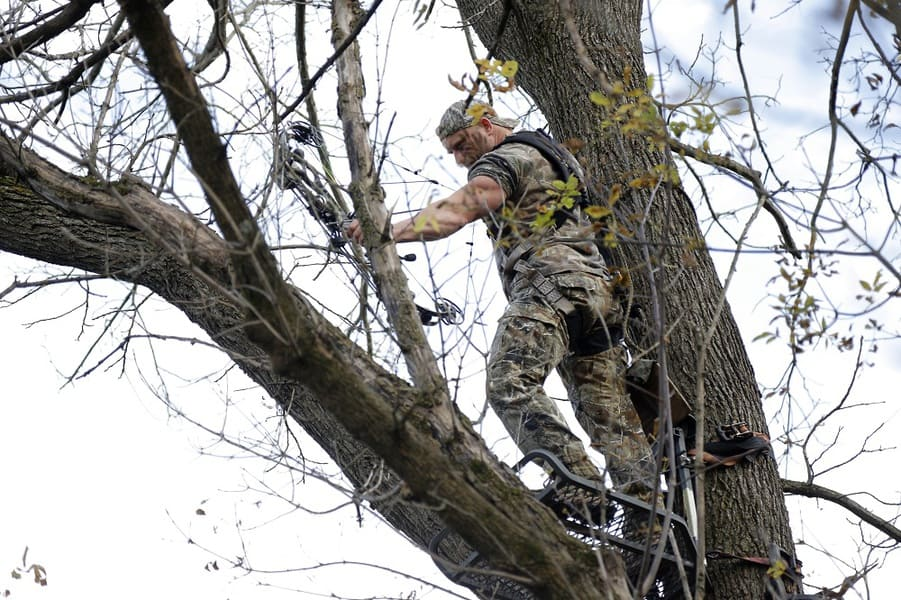 bow hunter on a tree stand